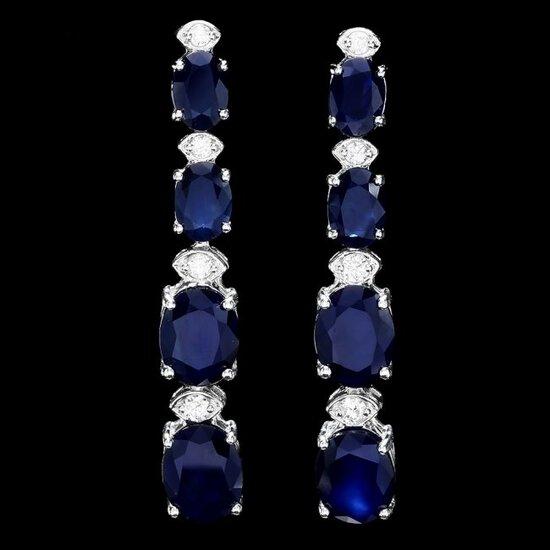 14k Gold 12.5ct Sapphire .35ct Diamond Earrings