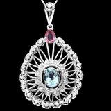 14k Gold 2.55ct Aquamarine 1ct Diamond Pendant