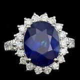 14k Gold 8.00ct Sapphire 1.20ct Diamond Ring