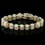14k Gold 16.5ct Opal 1.10ct Diamond Bracelet