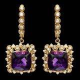 14k Gold 11.50ct Amethyst 1.70ct Diamond Earrings