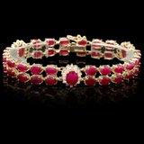 14k Yellow Gold 26ct Ruby 1.25ct Diamond Bracelet