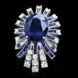 14k White Gold 11ct Sapphire 1.70ct Diamond Ring