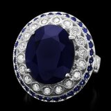 14k Gold 11.2ct Sapphire 0.60ct Diamond Ring