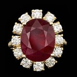 14k Yellow Gold 8.50ct Ruby 1.65ct Diamond Ring