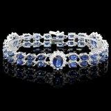 14k Gold 27ct Sapphire 1.65ct Diamond Bracelet