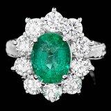 18k White Gold 2.40ct Emerald 2.15ct Diamond Ring
