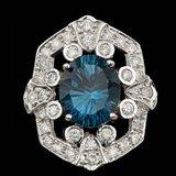 14k White Gold 6.00ct Topaz 2.30ct Diamond Ring