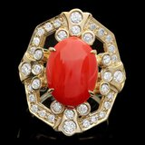 14k Yellow Gold 5.00ct Coral 1.10ct Diamond Ring