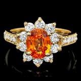 14k Yellow Gold 2.40ct Garnet 1ct Diamond Ring