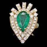 14k Gold 3.00ct Emerald 2.00ct Diamond Ring