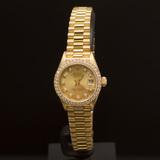 Rolex 18K Gold Presidential 26mm Diamond Dial Diamond Bezel Women's Wristwatch