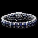 14k Gold 14ct Sapphire 1.80ct Diamond Bracelet