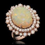 14K Gold 5.91ct Opal 1.85ct Diamond Ring