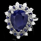 14k Gold 5.55ct Sapphire 0.55ct Diamond Ring
