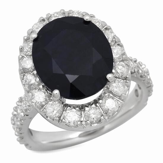 14K Gold 7.81ct Sapphire 2.01ct Diamond Ring