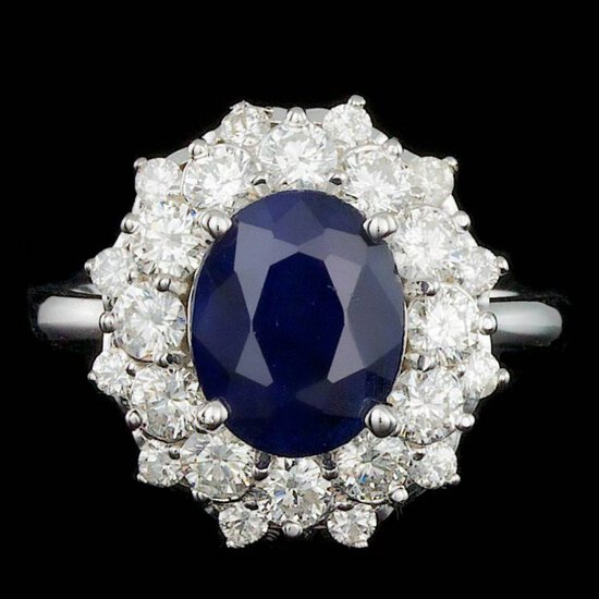 14k Gold 3.00ct Sapphire 1.40ct Diamond Ring