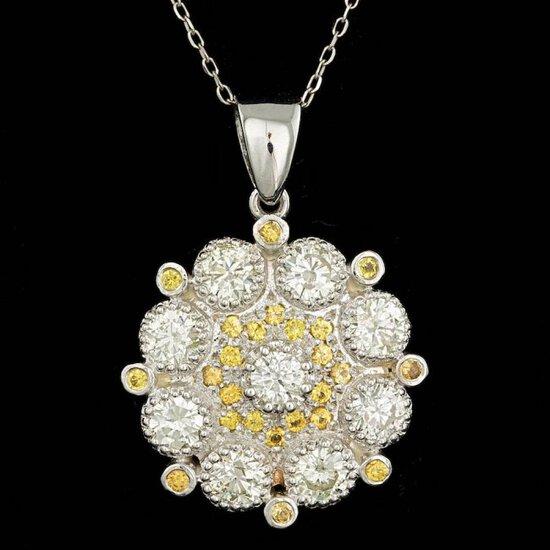 14k Gold 2.65ct Diamond 0.50ct Sapphire Pendant