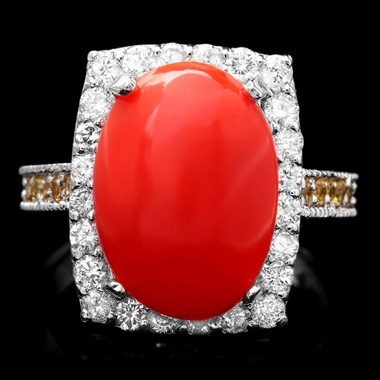 14k White Gold 5.50ct Coral 1.00ct Diamond Ring
