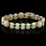 14k Yellow Gold 18ct Opal 1.10ct Diamond Bracelet