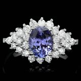 14k Gold 2.00ct Tanzanite 1.10ct Diamond Ring