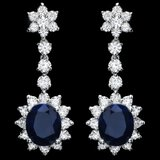 14k Gold 8.50ct Sapphire 3.30ct Diamond Earrings
