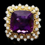 14k Gold 9.32ct Amethyst 0.90ct Diamond Ring