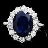 14k Gold 6.00ct Sapphire 1.40ct Diamond Ring