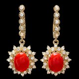 14k Gold 4.00ct Coral 1.50ct Diamond Earrings