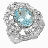 14K Gold 3.81ct Aquamarine 0.99ct Diamond Ring