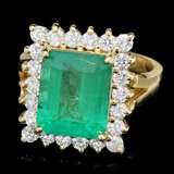 18k Yellow Gold 4.30ct Emerald 1ct Diamond Ring