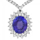18k Gold 12ct Tanzanite 11ct Diamond Pendant