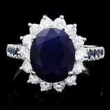 14k White Gold 4.3ct Sapphire 0.80ct Diamond Ring