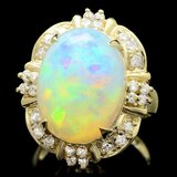 14k Yellow Gold 11.00ct Opal 0.70ct Diamond Ring