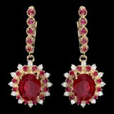 14k Gold 8.2ct Ruby 0.65ct Diamond Earrings