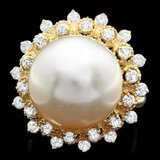 14k Gold 14 X 14mm Pearl 1.00ct Diamond Ring