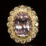 14K Gold 19.68ct Kunzite 2.75ct Diamond Ring