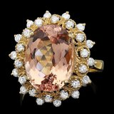 14k Gold 7.80ct Morganite 0.80ct Diamond Ring