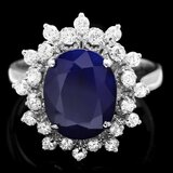14k Gold 3.65ct Sapphire 0.60ct Diamond Ring