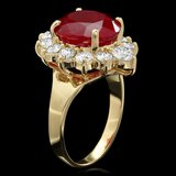 14k Yellow Gold 7.00ct Ruby 1.50ct Diamond Ring