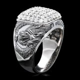 14k White Gold 2.20ct Diamond Mens Ring