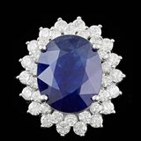 14k Gold 11.00ct Sapphire 2.50ct Diamond Ring