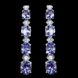 14k Gold 9.00ct Tanzanite 0.50ct Diamond Earrings