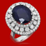 14k Gold 5.93ct Sapphire 1.52ct Diamond Ring