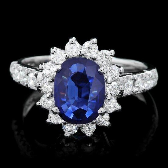 14k Gold 1.50ct Sapphire 0.90ct Diamond Ring