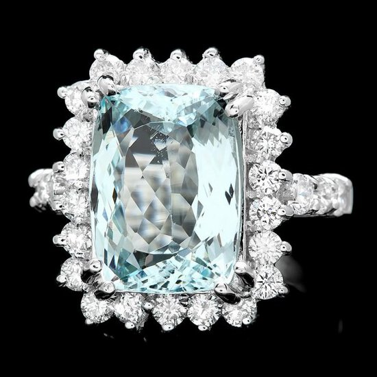 14k Gold 5.00ct Aquamarine 1.20ct Diamond Ring