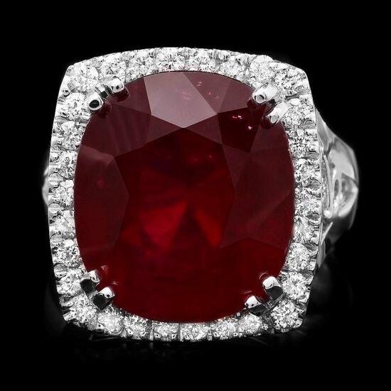 14k White Gold 19.50ct Ruby 0.70ct Diamond Ring