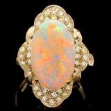 14k Yellow Gold 3.85ct Opal 0.50ct Diamond Ring