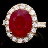 14k Yellow Gold 10.00ct Ruby 1.85ct Diamond Ring