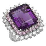 14K Gold 20.11ct Amethyst 1.96ct Sapphire 2.39ct Diamond Ring